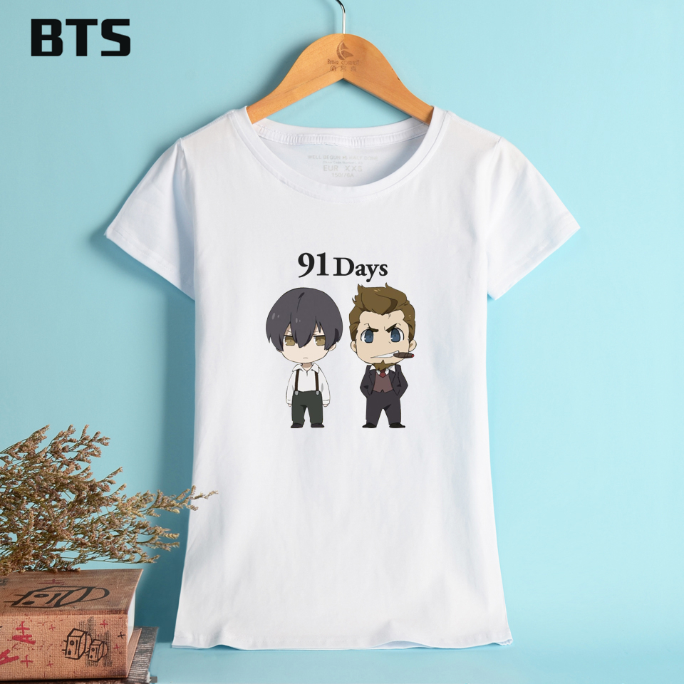 Design t shirt price - Bts 91 Days T Shirt Women White Black Creative Hot Sale Cute Streetwear Tops Summer Style