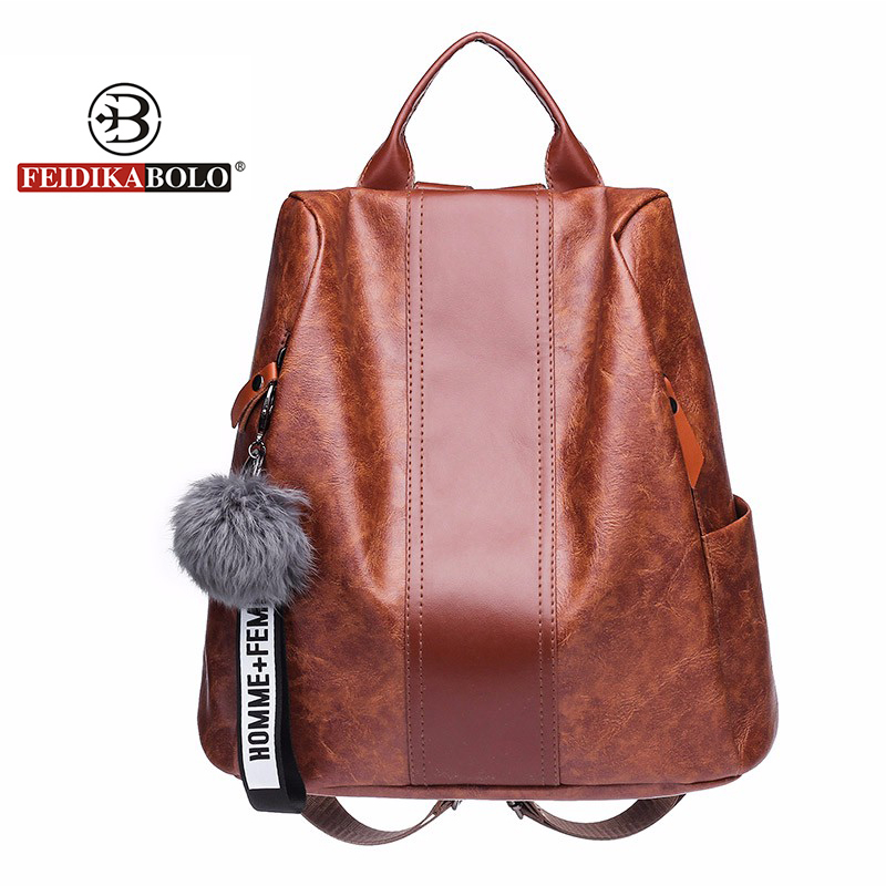 Famous Brand Luxury Fur Ball Women Backpack Vintage Designer School Bags For Teenagers Girls PU Leather Backpack Women 2018 New 4pcs new for ball uff bes m18mg noc80b s04g