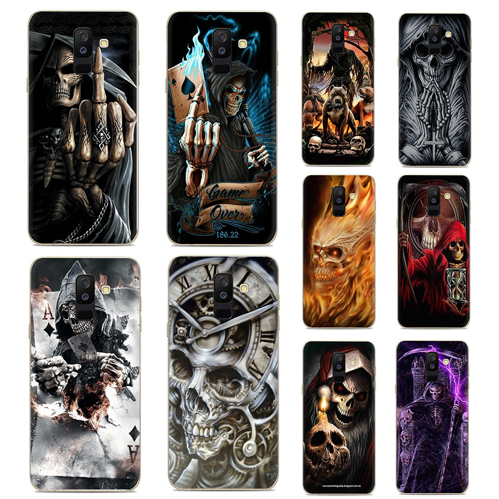 Grim reaper skull skeleton Silicone <font><b>phone</b></font> <font><b>case</b></font> for Galaxy A3 A5 A6 plus A7 A8 A9 S6 <font><b>S7</b></font> Edge S8 S9 S10 plus S10e Note 8 9 J6 image