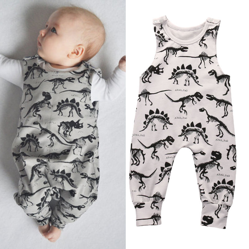 2017 Pudcoco Kids Baby Girl Boy Fashion   Rompers   Brand New Dinosaur Infant   Romper   Jumpsuit Sleeveless Animals Outfit set 1pcs Hot