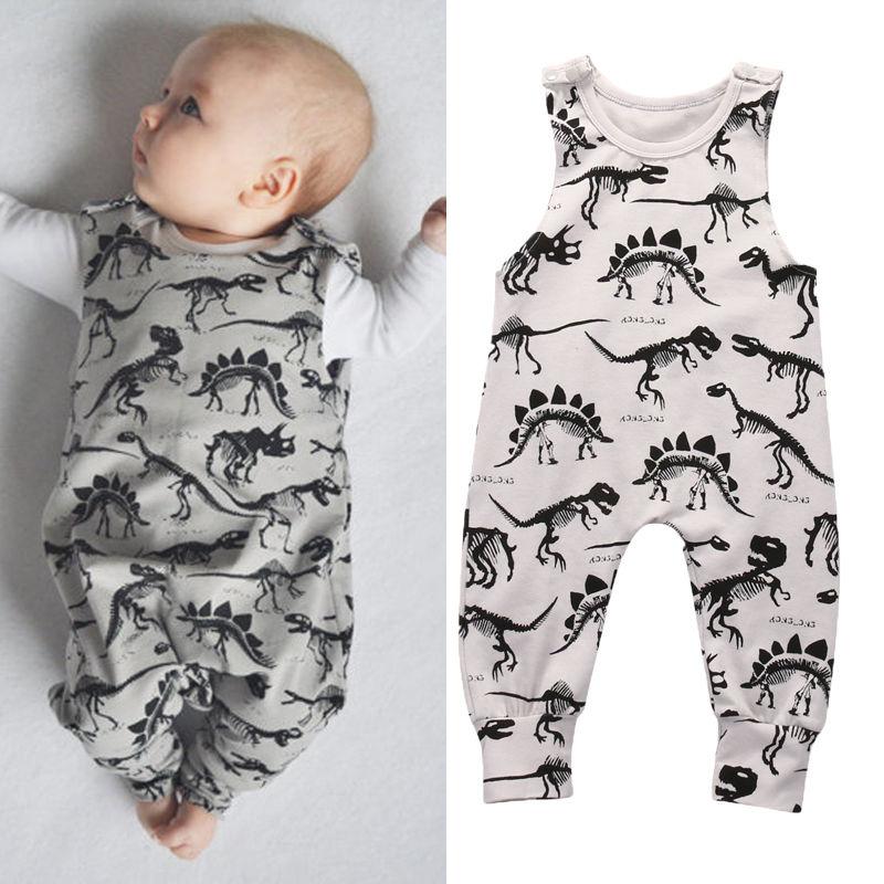 2017 Pudcoco Kinder Baby Mädchen Junge Mode Strampler Marke Neue Dinosaurier Säuglingsspielanzug Overall Sleeveless Tiere Outfit set 1 stücke heißer