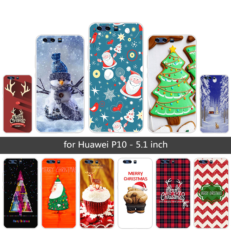 TPU Cases For Huawei P10 Back Black Matte Merry Christmas Cover Phone Cases 5.1Inch For P10 Fundas Phone Case Silicon Protective