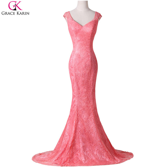 54377f7311 Sexy Mermaid Prom Dresses 2017 Grace Karin Robe De Soiree Longue Lace Open  Back Engagement Party