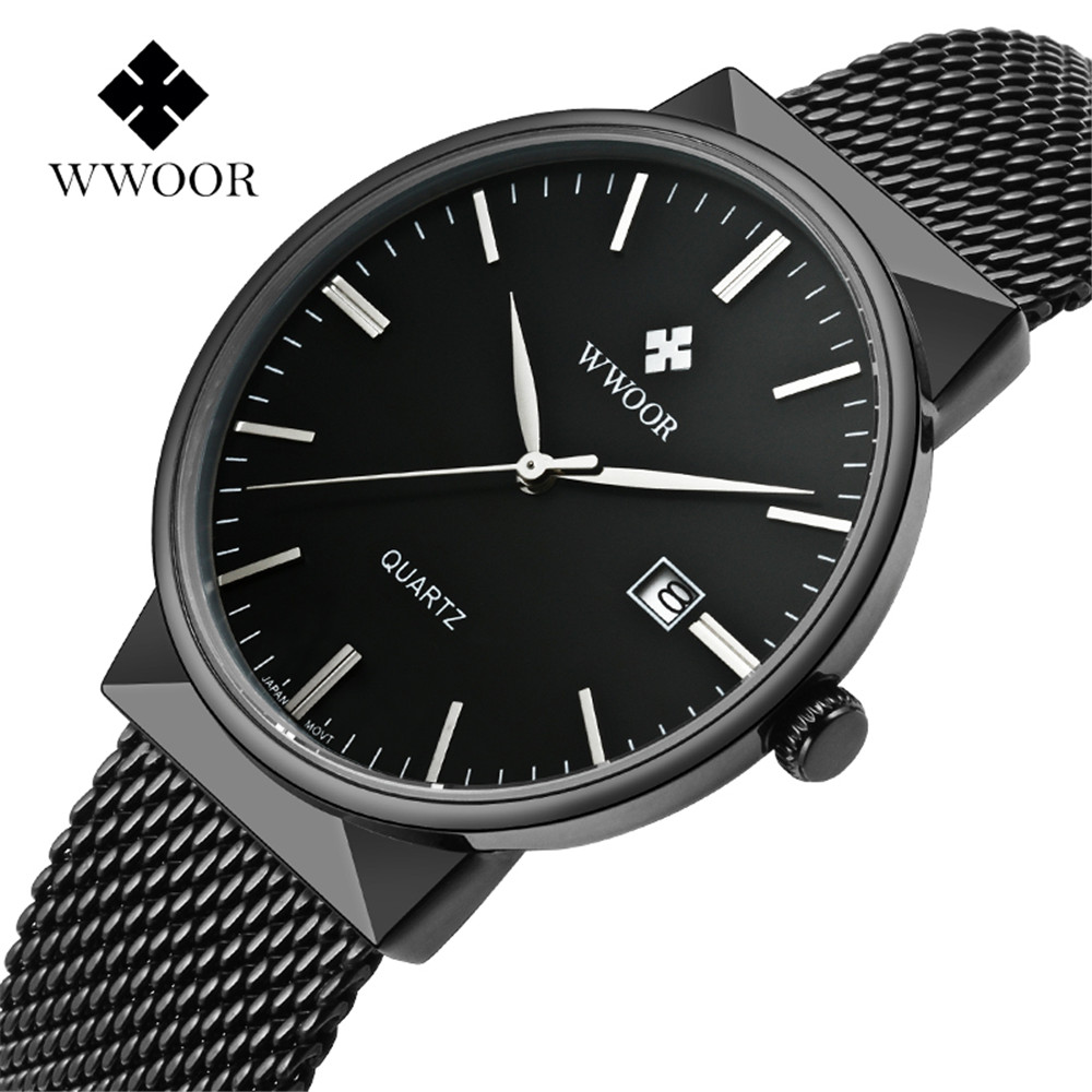 WWOOR Watch Men Business Waterproof Clock Mens Watches Top Brand Luxury Fashion Casual Sport Quartz Wristwatch Relogio Masculino baosaili fashion casual mens watches top brand luxury leather business quartz watch men wristwatch relogio masculino bs1038