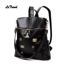 Letrend Корейский PU плеча Рюкзаки черный женский рюкзак студентка моды путешествия ретро женщины сумку девушки Школьные ранцы