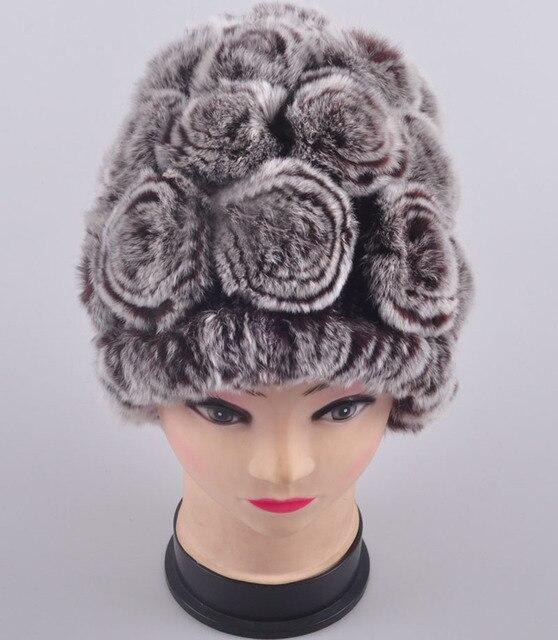 Free shipping Rex rabbit hair fur hat female 2017 winter women's stripe decorative pattern thermal rabbit fur hat