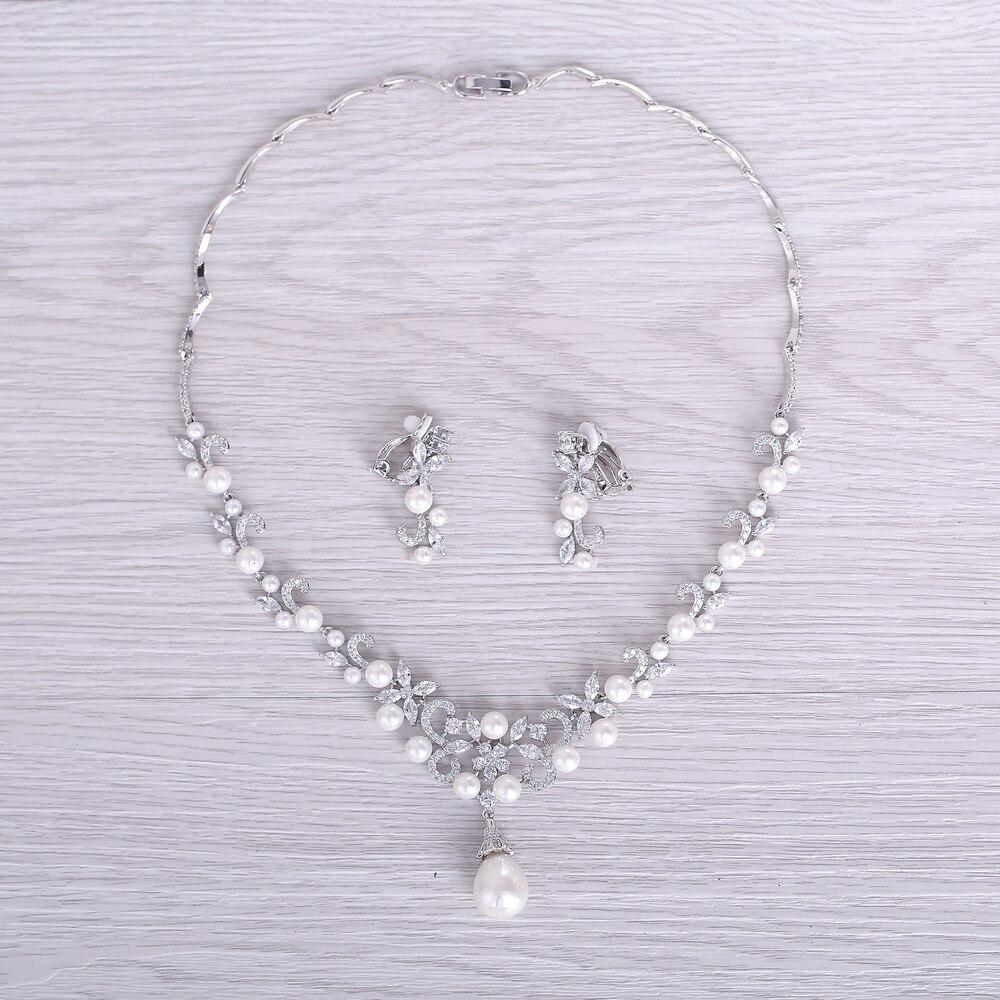 Ensembles de Bijoux de mariée de mode collier pendentif perles simulées AAA zircon cubique fleur boucles d'oreilles femmes Bijoux cadeaux - 3
