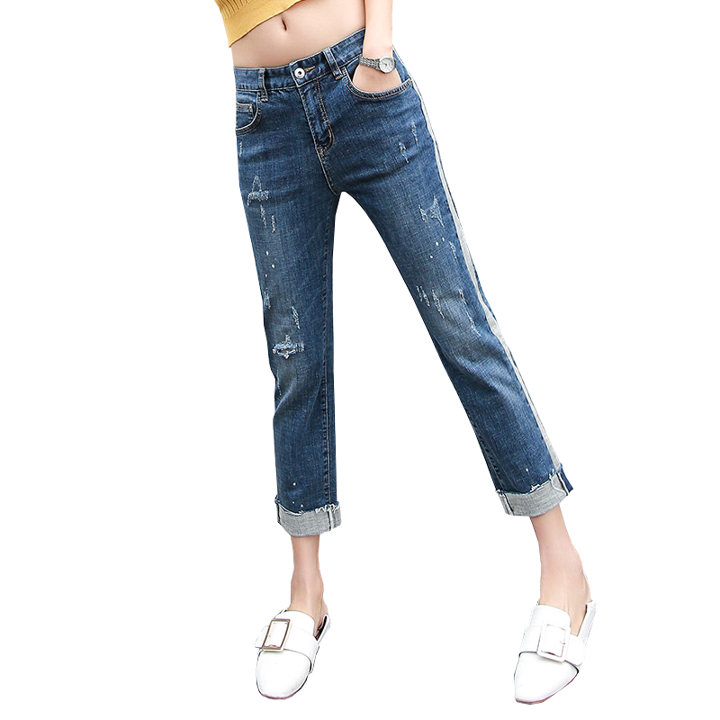 e84b43261e4 CTRLCITY mom Jeans for women large size straight pants Skinny boyfriend  jeans white edge retro trousers for women 2018 spring-in Jeans from Women s  Clothing ...