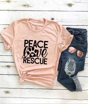 Peace Love Rescue Popular Woman's Graphic Summer Funny T-Shirt Dog Lover Shirt Dog Mom tee Rescue Dogs Shirts