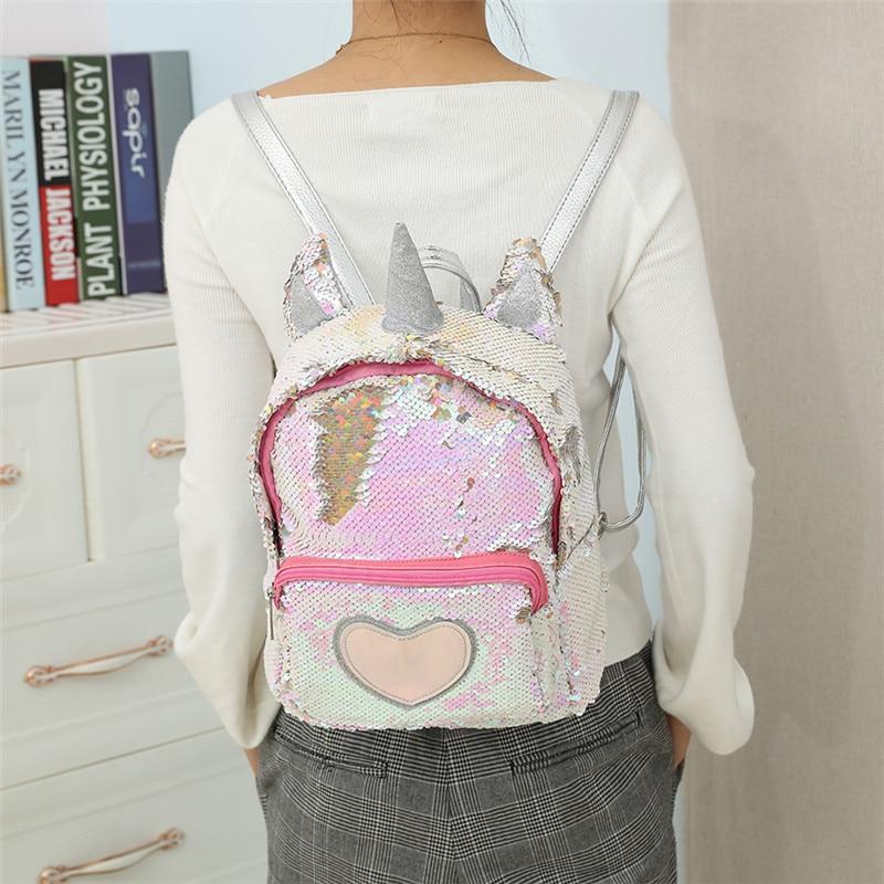 New Sequins Unicorn Backpack Women Pu Leather Mini Travel Soft Bag Fashion Schoolbag For Teenager Student Girls Book Bag Satchel #6