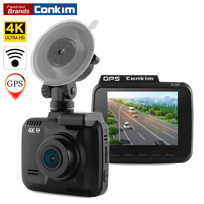 Conkim Dash Cam Camera GPS Wifi DVR Car Camcorder 4K 2880x2160P Night Vision Novatek 96660 2.4 Auto Registrar Car Black Box H40 conkim novatek 96655 dvr dash cam camera wifi gps auto registrar 1080p full hd video recorder 24h parking guard mini 0903 nanoq