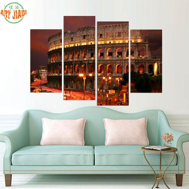 4 5 Pieces HD new Ancient Rome Famous Building Oil Painting Wall Art ...