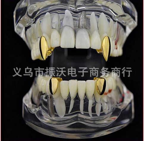 Hip-hop explosión vampiro casquillo simple de oro tono canino de diente parrillas regalo Hip Hop cada uno de los dientes parrillas para hombres y mujeres