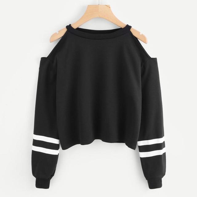 נשים שחור את כתף ארוך שרוול חולצה קצר סווטשירט בסוודרים מקרית למעלה חולצה סווטשירט לנשים חדש הגעה Dropship