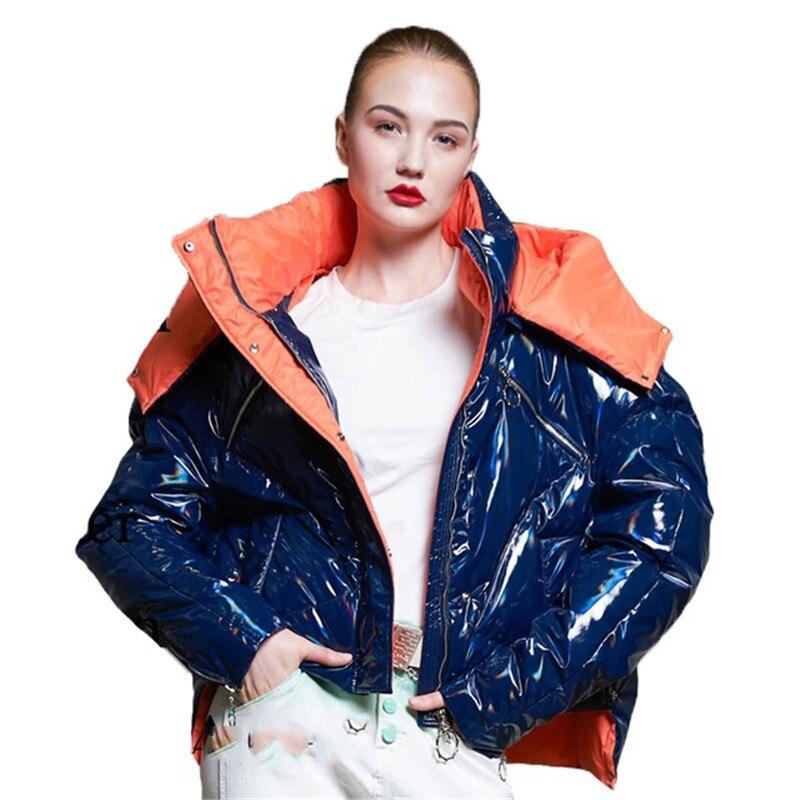 2018 New Women Winter Hooded Thick   Down   Jacket Boyfriend Oversized Shine   Down     Coat   Puffer Jackets camperas de pluma mujer D487