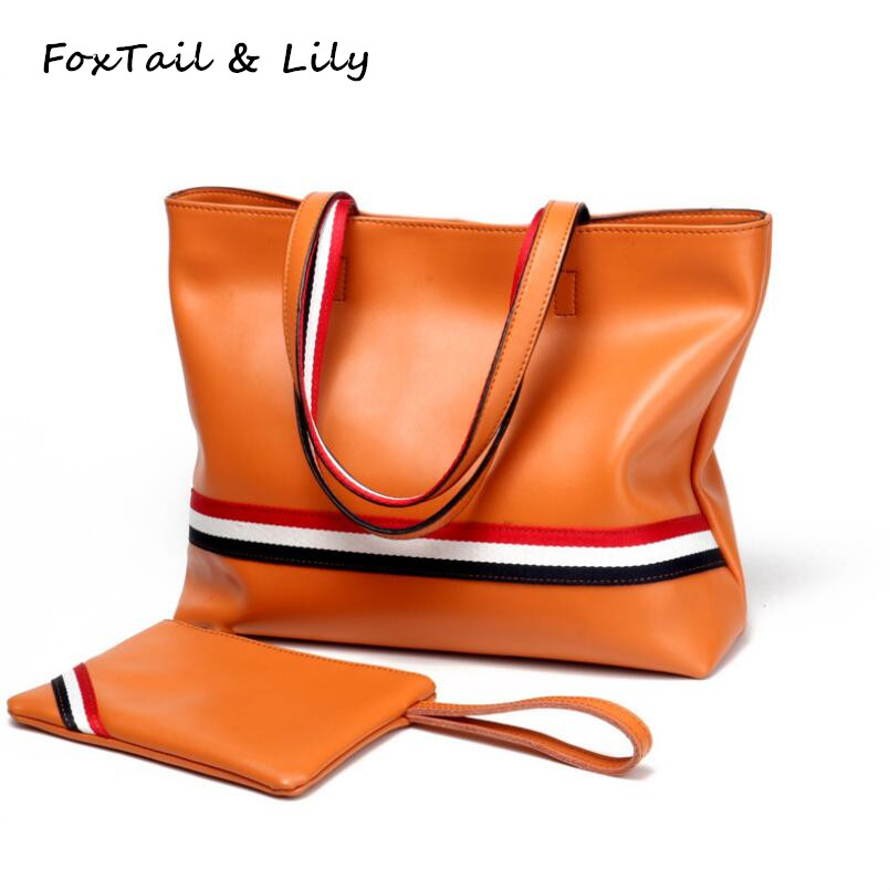 FoxTail & Lily Women Genuine Leather Handbags Brand Lady Casual Tote Large Capacity Simple Shoulder Bag Practical Composite Bags reprcla brand designer handbags women composite bag large capacity shoulder bags casual ladies tote high quality pu leather