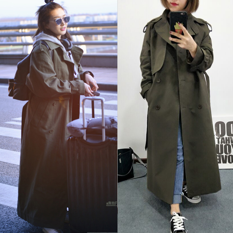 Brand new Fashion 2018 Fall /Autumn Casual Double breasted Simple Classic Long   Trench   coat with belt Chic Female windbreaker