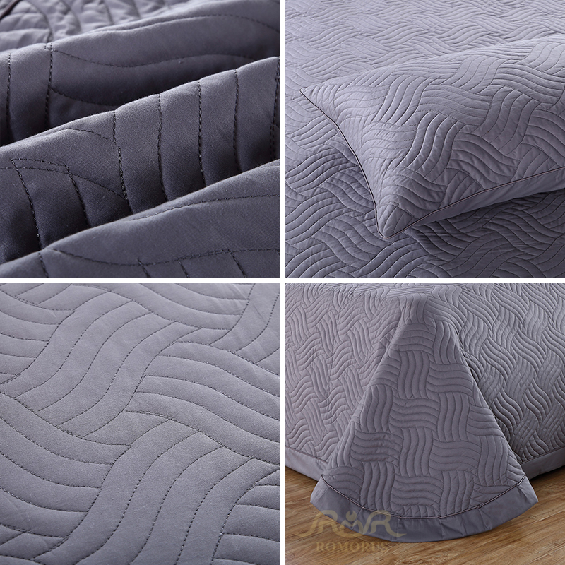 3 Pieces Set 100 Cotton Solid Quilted Bedspread Set Gray Navy Blue Quality Bed Sheet Cover Sets Pillowcase 245 260cm Blanket in Bedspread from Home Garden