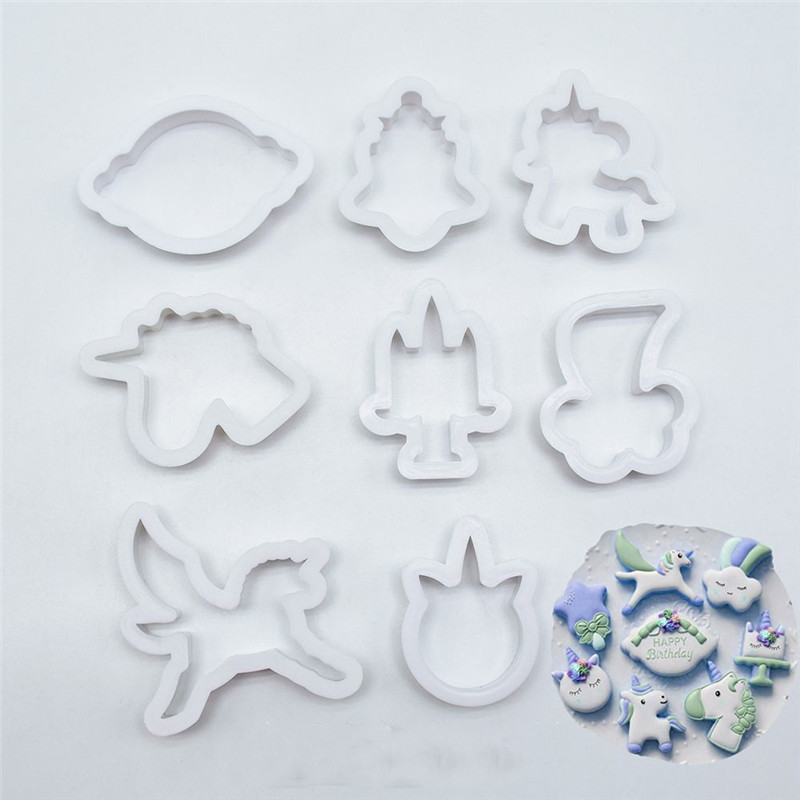8pcs set creative unicorn cookie cutter diy fondant chocolate cake embossing stencil mold biscuit mold baking tool in cookie tools from home garden on