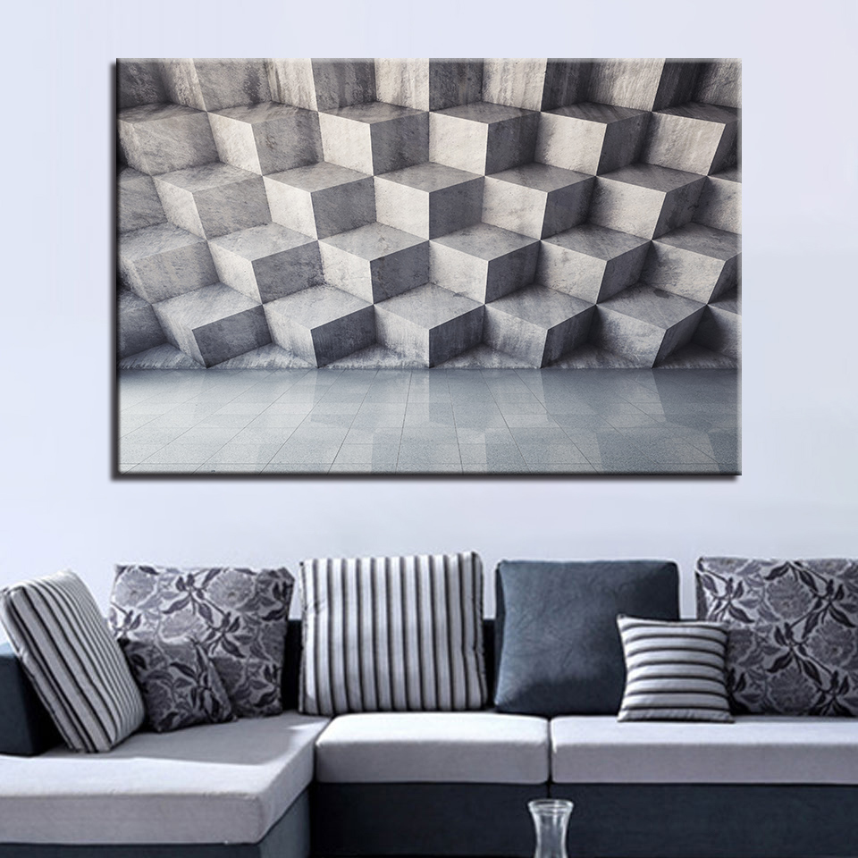 Home Decoration Canvas Painting Hd Prints 1 Pieces Solid Geometry Brick Wall Art Creative