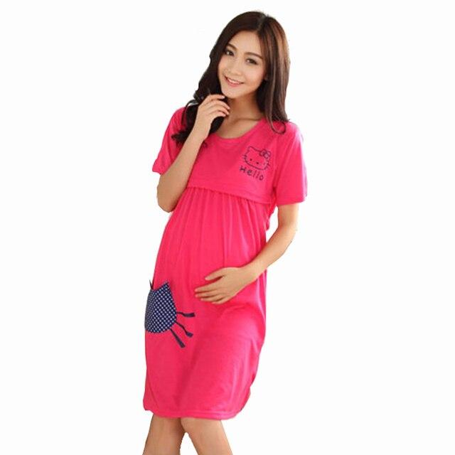 New Maternity Cat Printed Sleepwear Pajamas Nursing Nightwear Breast Feeding Nightgown Dress For Pregnant Women CL0203