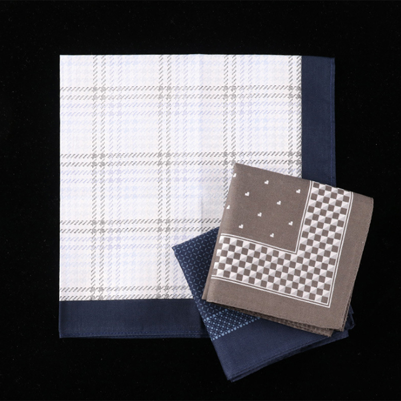 Cotton Handkerchiefs Plaid  Printing Plaid Pocket Square Mens Casual Streak Square Pockets Handkerchief Towels