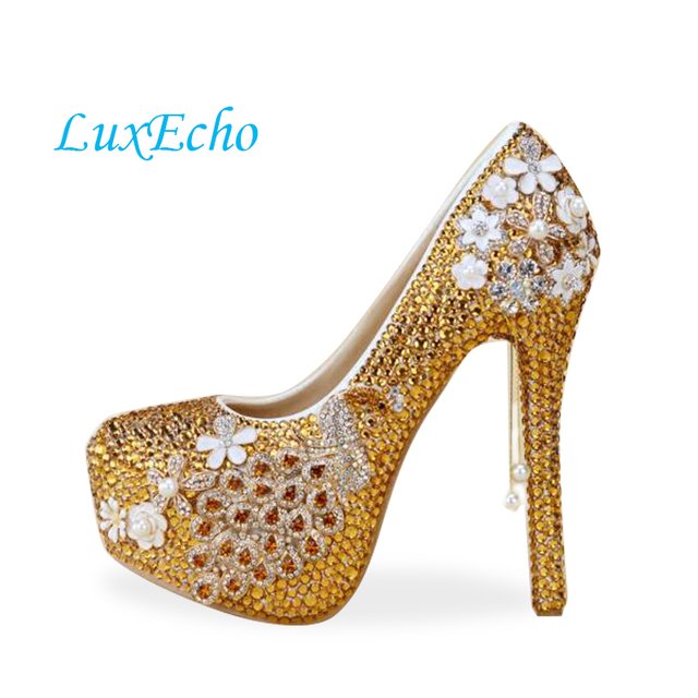 Gold rhinestone handmade bride wedding shoes peacock bridal shoes ultra high  heels platform shoes free shipping df38e753450b