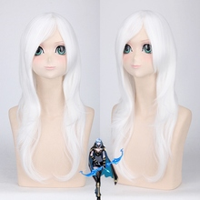 League of Legends Ashe LoL 60cm Anime Game Long Curly Wavy Cosplay Wigs for Women Female Fake Hair for Costume Party White