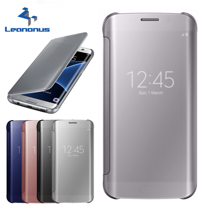 Leanonus Acrylic Mirror Smart <font><b>Flip</b></font> <font><b>Case</b></font> For <font><b>Samsung</b></font> Galaxy A310 A510 A710 A3 A5 A7 2016 Clear View Cover For <font><b>Samsung</b></font> A310F A510F image