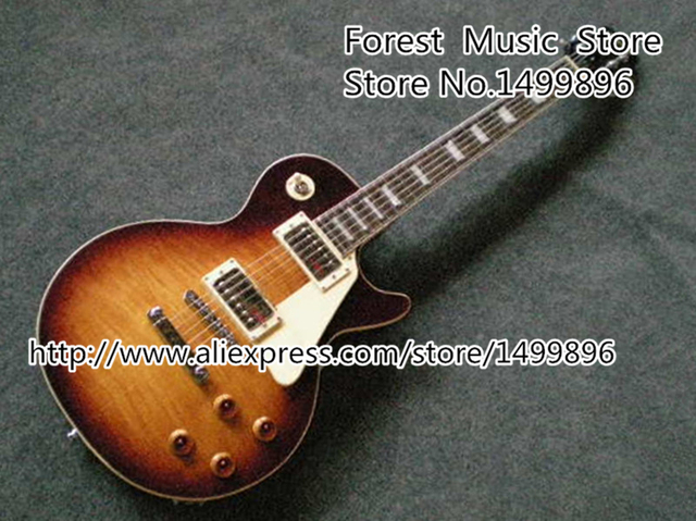 Cheap Custom Shop Classical Vintage Sunburst Tiger Flame LP Standard Chinese Electric Guitar Lefty Available