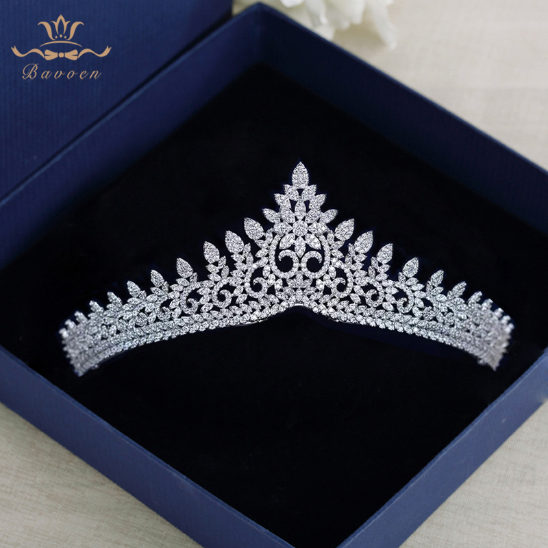 Sparkling Zircon Crystal Brides Tiaras Crowns Silver Wedding Hairbands Royal Queen Evening Hair Jewelry Wedding Accessories high end silver wedding hairbands royal princess full zircon crystal tiaras crowns for brides evening hair accessories