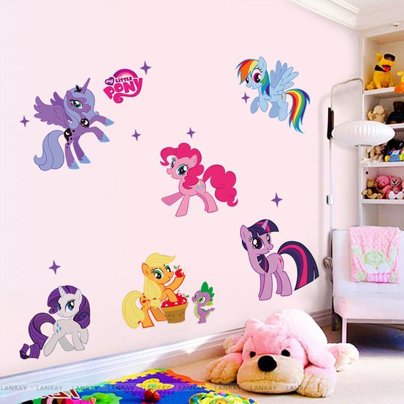 söt hästtecknad filmvägg klistermärkear för barn rum dekoration - Heminredning