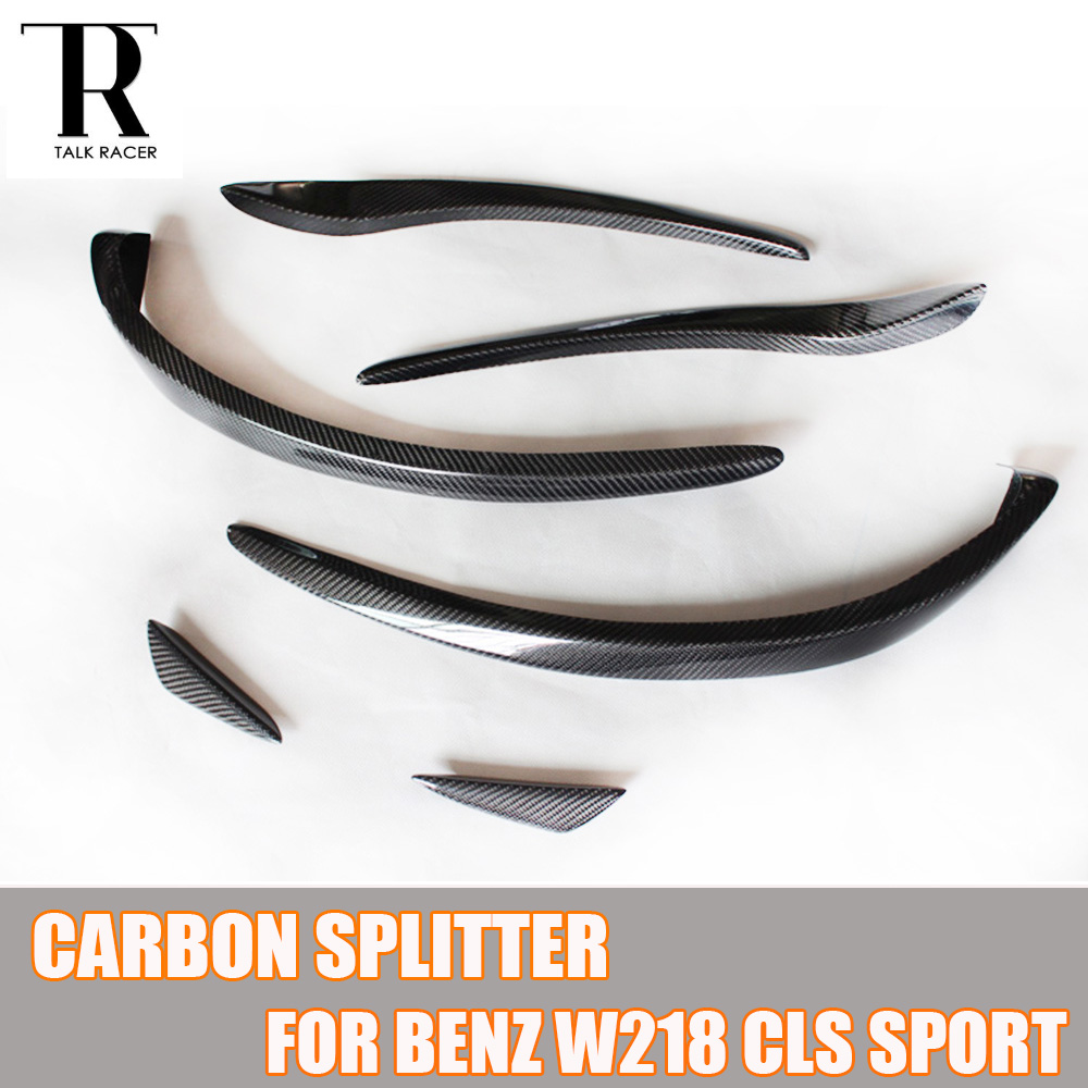 W218 Carbon Fiber Front Bumper Side Canards Splitter Spoiler for Benz W218 CLS260 CLS320 CLS350 CLS500 Sport Bumper 2014 2015 yandex mercedes x156 bumper canards carbon fiber splitter lip for benz gla class x156 with amg package 2015 present