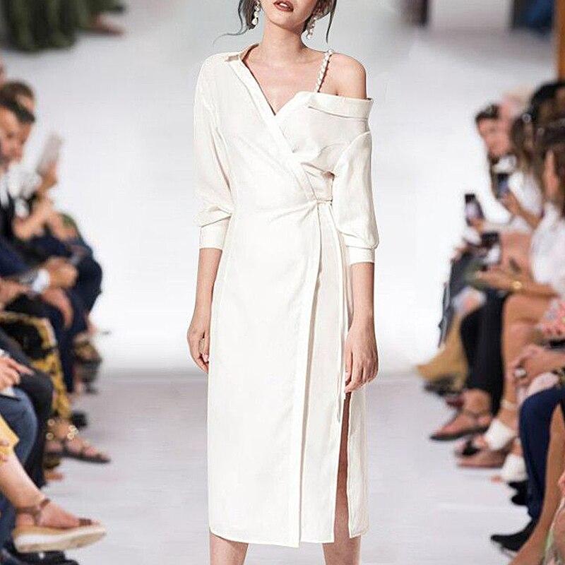 Designer de piste de haute qualité printemps nouvelles femmes de mode fête bohème plage Sexy Vintage élégant Chic à manches longues blanc noir robe
