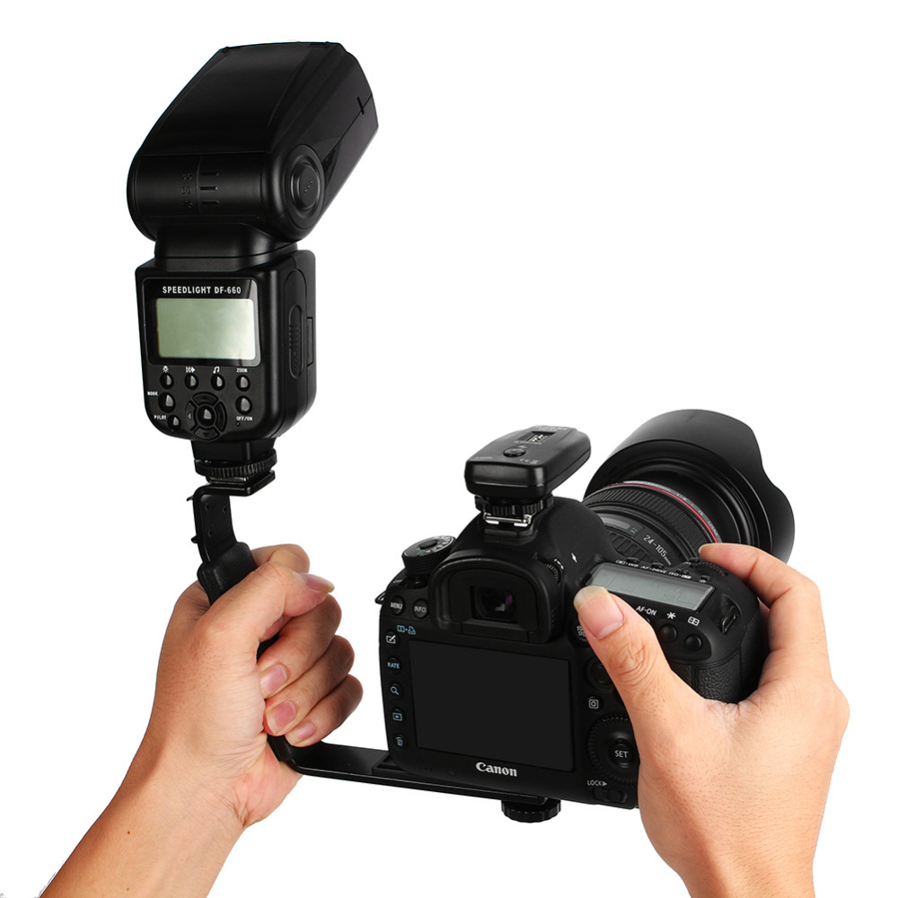 YANTAIANJANE Camera Accessories L-Shape Bracket Handheld Grip Holder with Dual Side Cold Shoe Mounts for Video Light Flash DSLR Camera