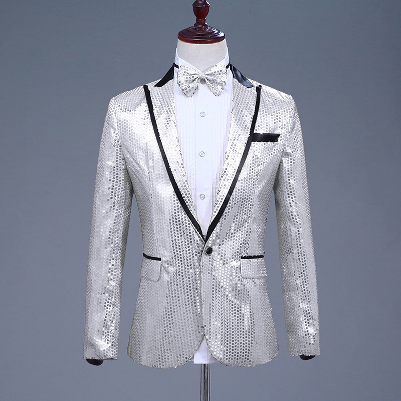 Image 4 - Sequin Suit Jacket Costume Single Breasted Casual White Red Blue Blazer Purple Pink Yellow Men Suits Para Caballero Blazers-in Blazers from Men's Clothing