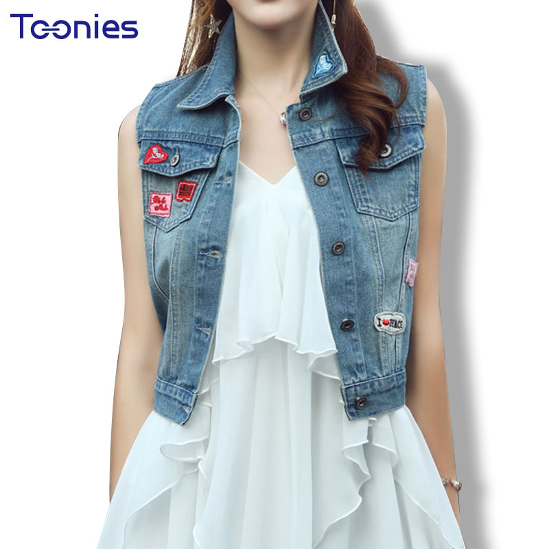 Girls Sleeveless Denim Jacket Summer Autumn Short Denim Vest Coats