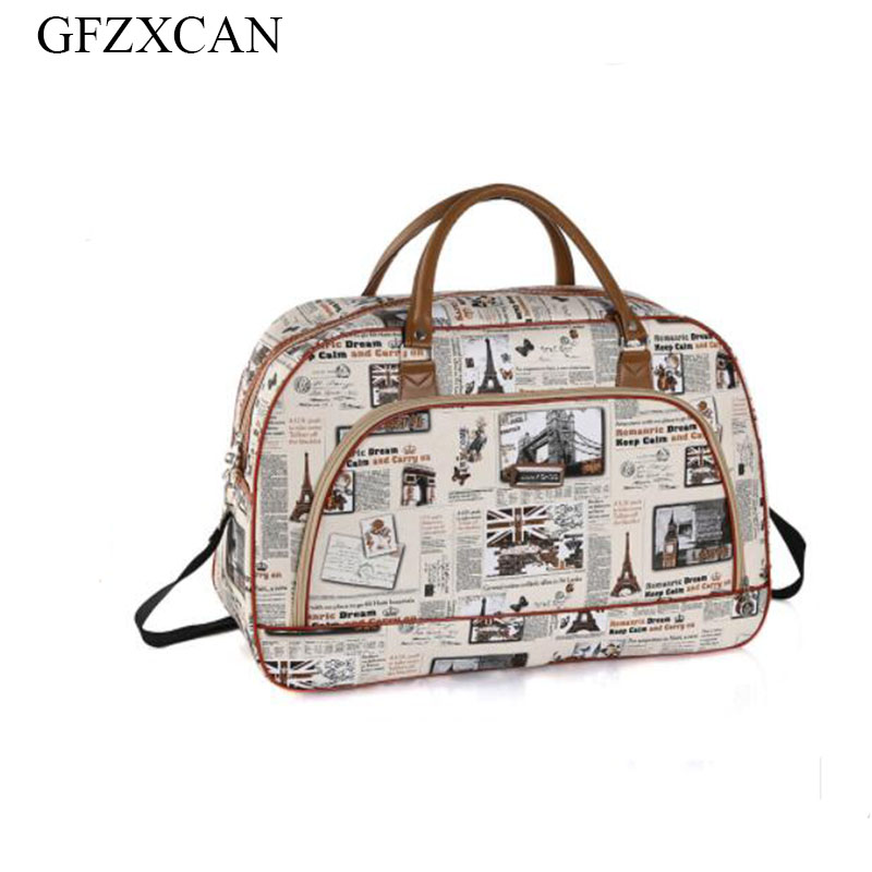 2018 new ladies waterproof travel bag portable large capacity PU leather printing luggage business