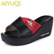 AIYUQI womens sandal summer 2019 new genuine leather ladies wedge slippers fashion platform high-heeled women shoes