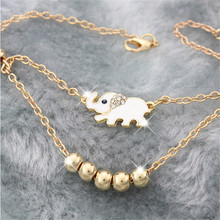 Cute Elephant Family Stroll Design Fashion Women Charming Ankle Bracelet Foot Chain Foot Jewelry 3006