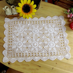 Yazi Vintage Rectangle Cotton Crochet Lace Table Cloth Small