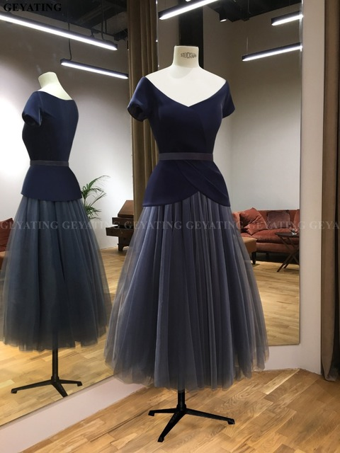 Navy Blue Short Mother of Bride Dresses with Sleeves 2019 Plus Size V-Neck Tulle Tea Length Wedding Party Gowns Godmother Dress