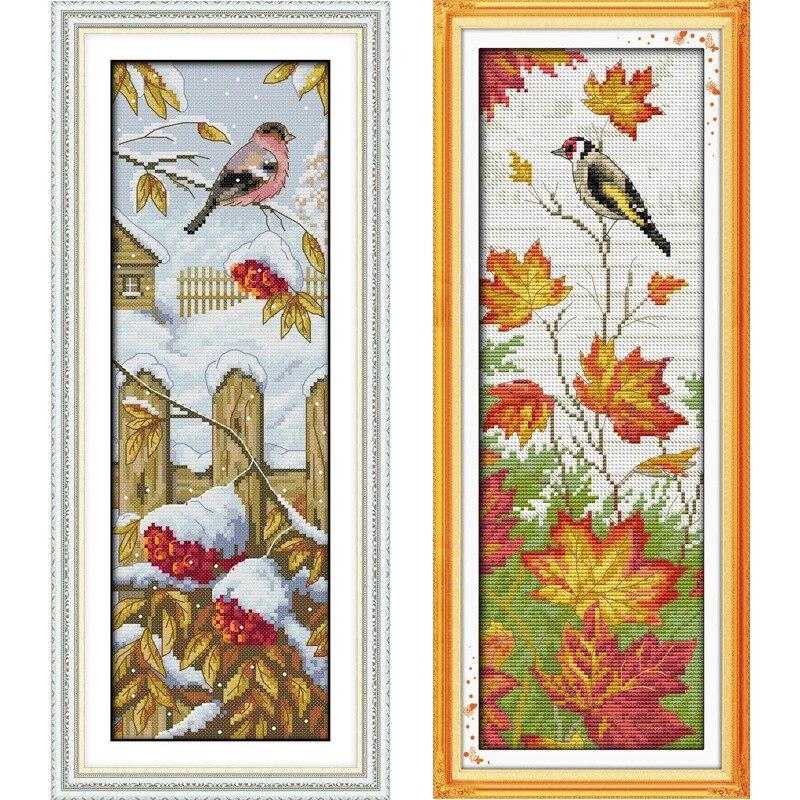 가을 겨울 풍경 인쇄 된 캔버스 DMC Counted Chinese - 예술, 공예, 바느질