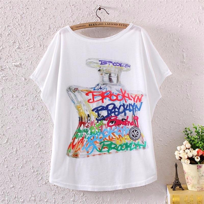 2017 Brand New Polyester T-Shirt Women Short Sleeve t-shirts o-neck Causal Cartoon perfume bottle t shirt Summer top for women