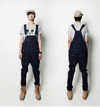 2015 New Boys denim bib pants harem pants male casual men's spaghetti strap pants suspenders jeans  denim overalls