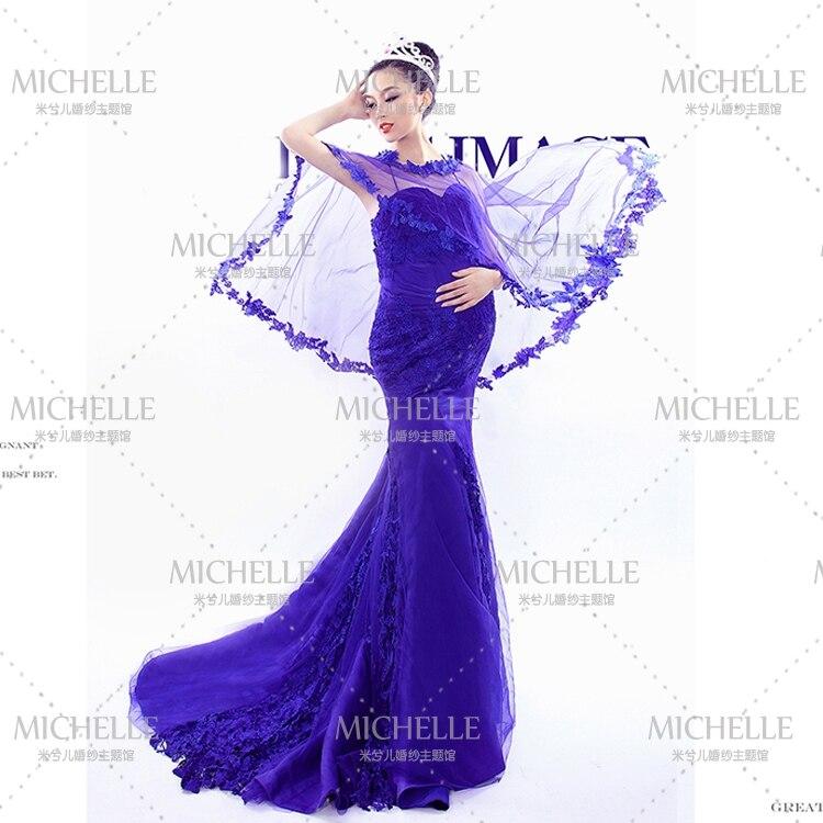 Acheter robe obtenir voile ~ nouvel an arrivée Sexy bleu dentelle Pregant robe/maternité robe 733