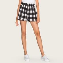 Wasteheart Summer Black Polyester Shorts Women High Waist Shorts Women Short Bottom Formal Plaid Casual Plus Size Ruffle Beach