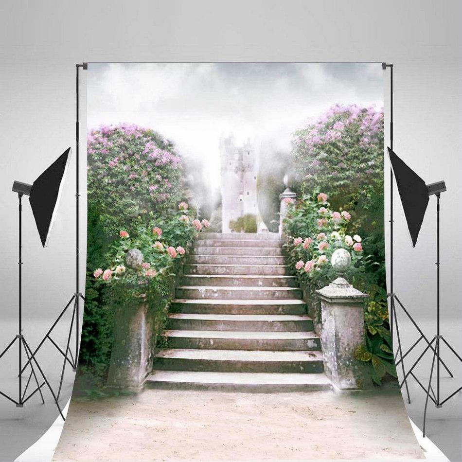 Bokeh Flowers Wedding: Bokeh Pink Flower Leaves Staircase Garden Background Vinyl
