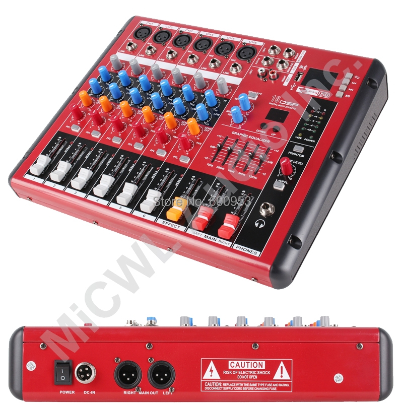 Pro 6 Way Bluetooth Microphone DSP Digital Effect Mixer Controller Mixing with Mixer USB MP3 +48V DJ Recording Studio Equipment staraudio pro 4 channel 2000w live studio dj stage amplifier powered mixer with mp3 bluetooth usb sd 16 dsp smx 4000b