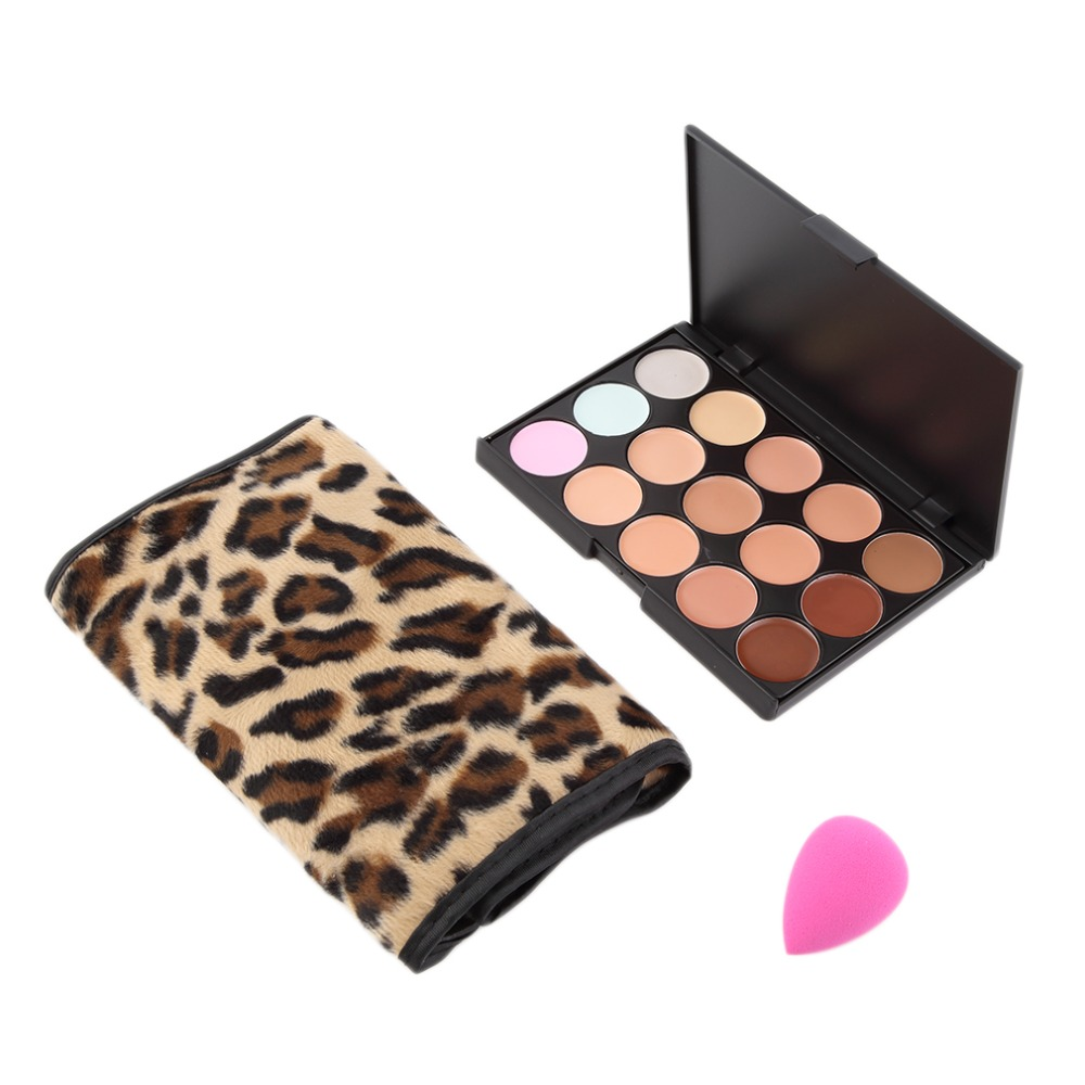 !15 Colors Concealer Cream <font><b>Contour</b></font> Palette 12 Leopard Bamboo Handle Brushes 1 Puff Set Professional Salon Tools Hot Selling